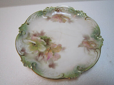 Antique RS Prussia Porcelain Small Round Dish w/ Flowers Decoration