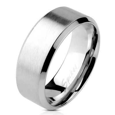 Men's Brushed Center Beveled Edge Comfort Fit Flat Band Stainless Steel