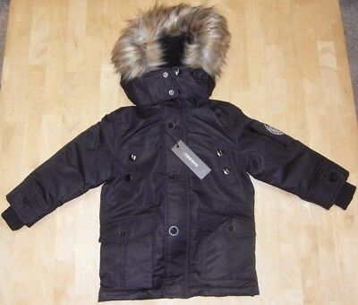 NWT Diesel Kids Toddler Boys Parka Jacket Quilted Vestee Faux Fur Hood Sz 2T NEW