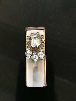Vintage mother of pearl lipstick holder with rhinestone embellishment and mirror