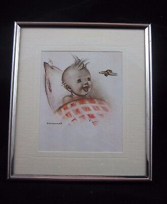 "Framed and Matted  HUMMEL Baby Print ""Baby with Bee"""