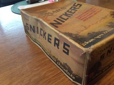 Vintage MARS EMPTY SNICKERS candy BOX - HELD 24, 5 CENT BARS