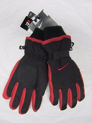 NIKE SKI GLOVES $28 Black/Red Thinsulate Winter Youth Boy's Sz 8 to 20 ONE SIZE