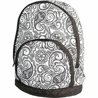 Quilted Backpack - Black and White Paisley - by Threadart