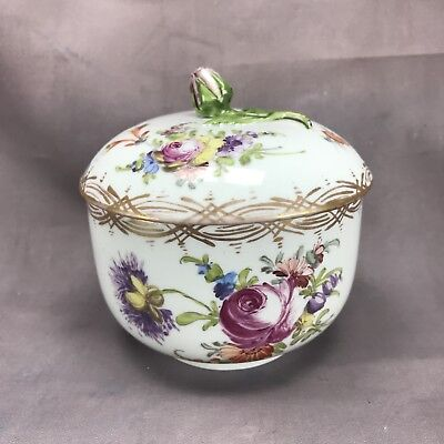 Meissen Covered Sugar Bowl Hand Painted Flower & Gold Trim w/ Purple Rose Finial