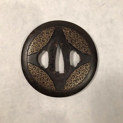 Edo Iron Tsuba, inlaid w/Gold, Scroll Pattern BEAUTIFUL