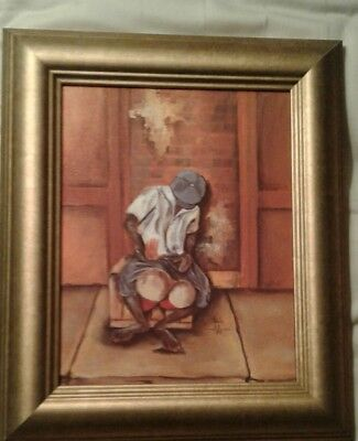 Signed Annie Lee Art~ Framed ~African American Lithograph On Canvas, EUC