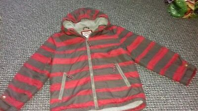 Boys Designer Mini Boden Striped red and grey winter coat VGC Age 9-10 LOOK