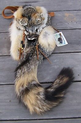 Hand Made  Beaded Gray Fox Fur Pouch Rendezvous Black Powder Mountain Man 1