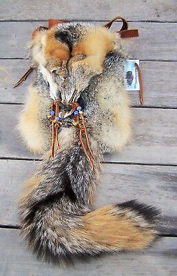 Hand Made  Beaded Gray Fox Fur Pouch Rendezvous Black Powder Mountain Man 2