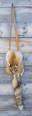 Hand Made  Beaded Red Fox Fur Pouch Rendezvous Black Powder Mountain Man