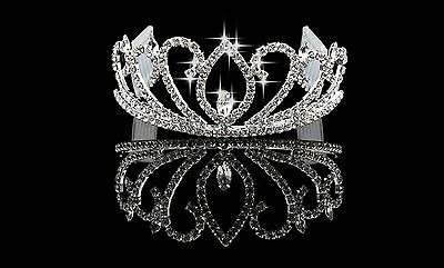 Rhinestone Tiara Crown Princess Flower Girl Children Birthday Wedding Comb S8B11