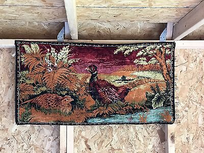 """Vintage Pheasant Fowl Tapestry 37"""" X 19"""" Small Wildlife Tapestry Christmas Gift"""