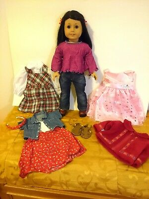 AMERICAN GIRL Dark Hair Brown Eyes Asian Doll with Outfit Lot No Box