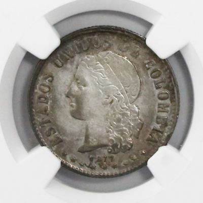 Medellin, Colombia, 20 centavos, 1877, encapsulated NGC XF 45. Restrepo-288.6