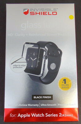 New Zagg shield Glass Luxe HD Clarity Black Finish For Apple watch Series 2 42mm