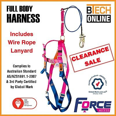 Safety Harness and Wire Rope Lanyard (1.7m) BRAND NEW Australian Certified