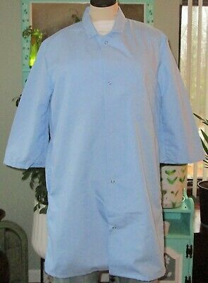 "Best Medical Woman 3/4 Sleeve Lab Coat Snap 35"" Length Lt Blue Sizes S to 2X"