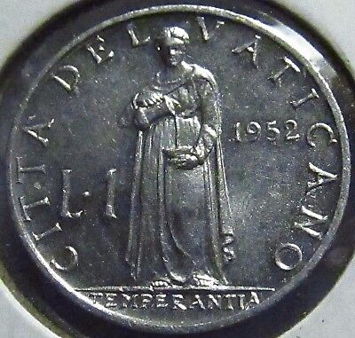 1952 Vatican City 1 Lira #1 of 3 ~ XF Shape, See Pics ~ KM# 49