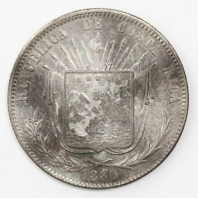 Costa Rica, 50 centavos, 1880 GW KM-124. 12.69 grams. AXF with traces of luster,