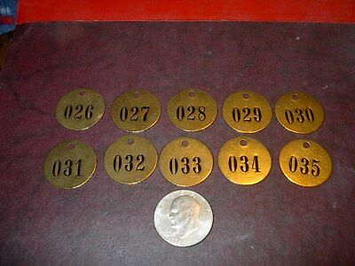 10 Vintage Brass Number Tags Cow Dairy Farm Collector Art Project, Locker  #1
