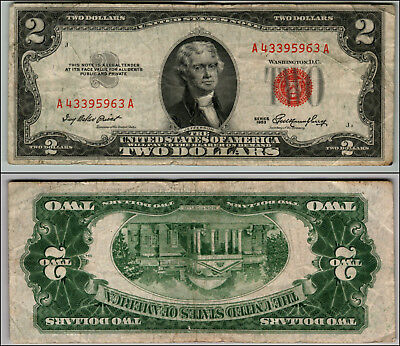 1953 $2 Dollar Bil Us Note Legal Tender Paper Money Currency Red Seal W333