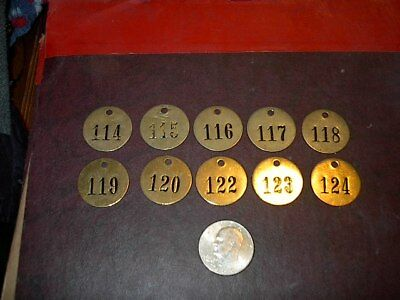 10 Vintage Brass Number Tags Cow Dairy Farm Collector Art Project, Locker  #7