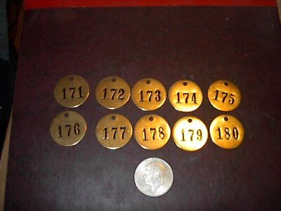 10 Vintage Brass Number Tags Cow Dairy Farm Collector Art Project, Locker  #13