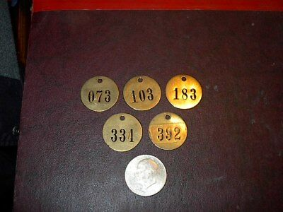 5 Vintage Brass Number Tags Cow Dairy Farm Collector Art Project, Locker  #22