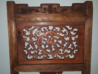 Antique Chinese Carved Relief Wood Architectural  Panel,