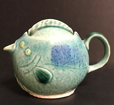 Vintage Fish Shaped Teapot - Made In Japan - Sea Green - Unknown Mark