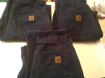 CARHARTT WORK DUNGAREES MENS 34 X 32 Lot Of 3 Pair Preowned