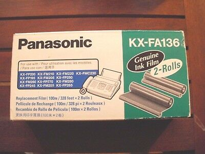 2-Roll Panasonic KX-FA136A Genuine Replacement Film KX-FA136 KXFA136 in Box