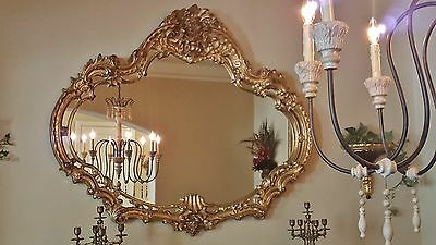 """HUGE Vintage French Provincial ROCOCO Gold Ornate Wall Mantle MIRROR 59""""x50"""""""