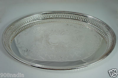 """Vintage Silver Plate Oval Serving Tray Open Work Rims Etched """"k&m"""""""