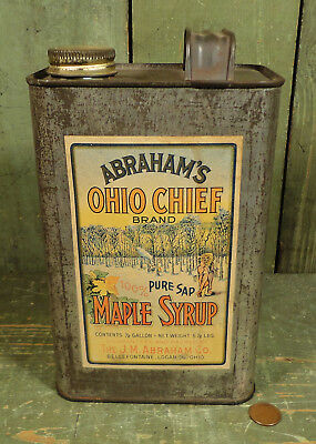 Antique Vtg Abraham's Ohio Chief Maple Syrup Advertising Tin Can, Paper Label
