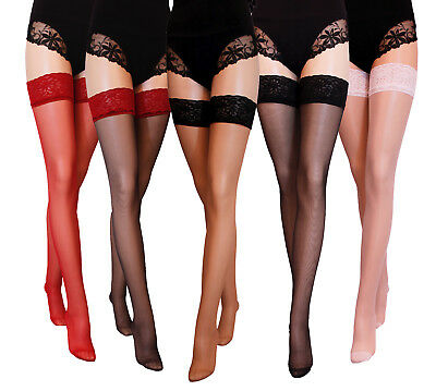 New Lace Top Sheer  Hold ups  20 Denier Various Colours size  1/2 3/4 5/6
