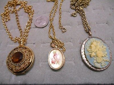 Vintage Lot Of 3 Locket Pendant Necklaces,cameo,painted,avon
