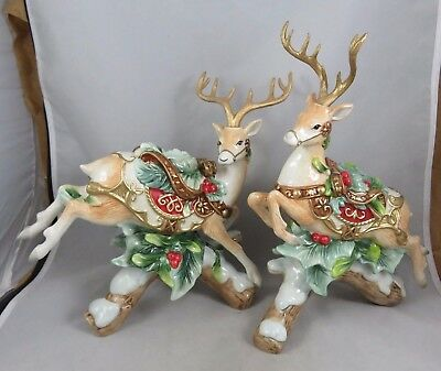 Fitz and Floyd - Yuletide Holiday - Christmas Reindeer - Candle Holder Figurines
