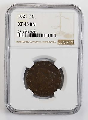 XF45 BN 1821 Matron Head Large Cent - NGC Graded *0798