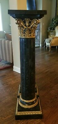 "SUPERB 1980s MAITLAND SMITH GILDED TESSELLATED STONE 52"" PEDESTAL STAND 1 of 2"
