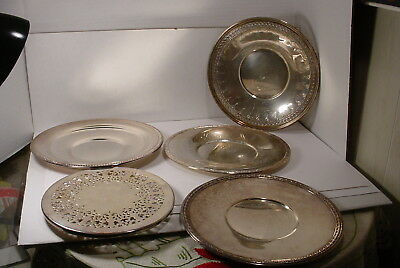 Vintage 5 Pieces   Silverplate  Trays and a  Trivet