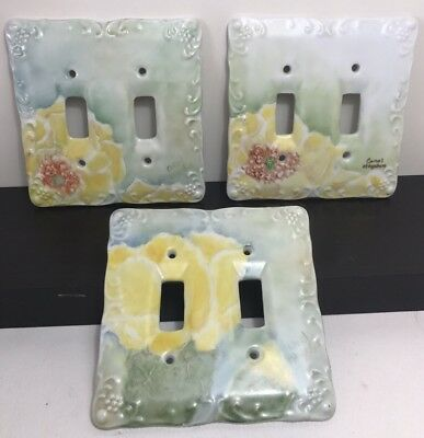 Hand Painted Prickly Pear cactus Flower Porcelain Double Light Switch Covers lot