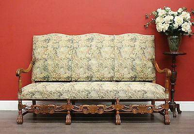 Antique French Walnut and Fabric Hall Settle / Chaise / Lounge / Settee Armchair