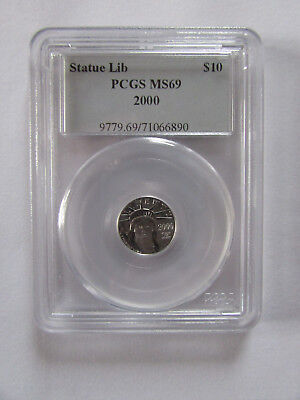 2000 Statue of Liberty $10 1/10th Ounce Platinum Coin - PCGS MS69