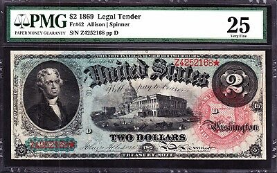 US 1869 $2 Rainbow Legal Tender FR 42 PMG 20 VF (-168)