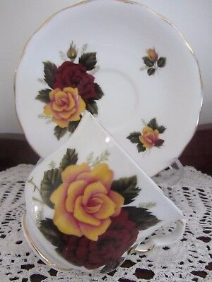 Vintage - ''queen Anne''  - ''red & Yellow Roses'' - Cup / Saucer Duo