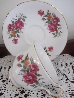 Vintage - ''queen Anne''  - ''small Roses'' - Cup / Saucer Duo