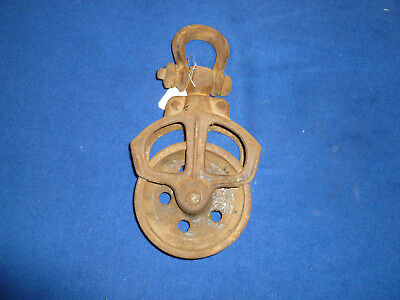 Vintage antique rustic decor  Cast Iron Pulley Barn Farm Ranch Potting Shed