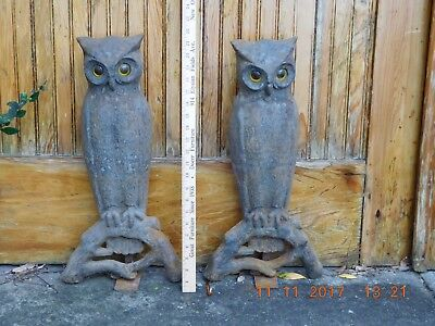 Antique Cast Iron Owl Fireplace Andirons 22-inch high